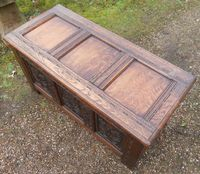 Antique Style Carved Oak Blanket Chest